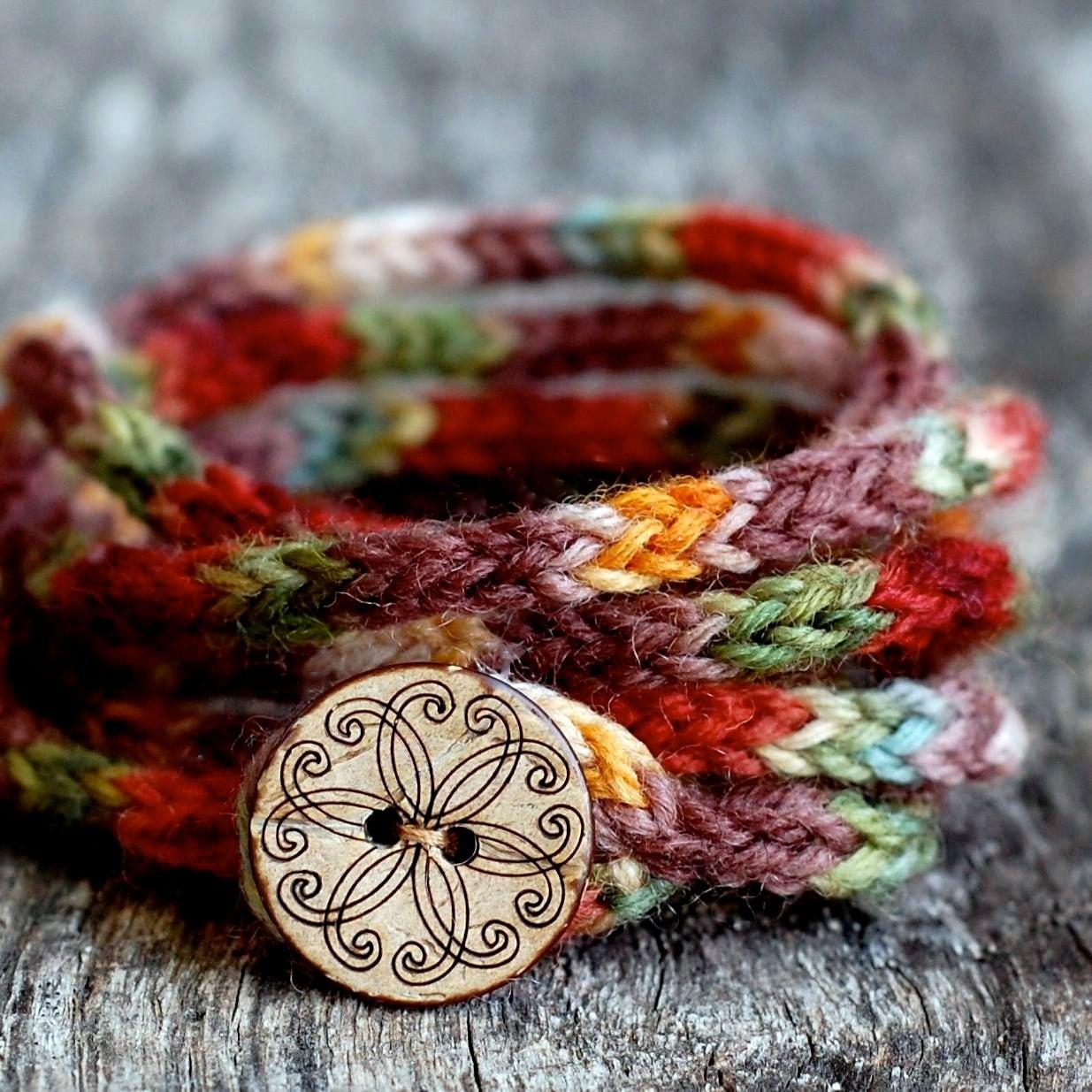 Women's Wrap Bracelet - KNITTING PATTERN - Rustic I Cord