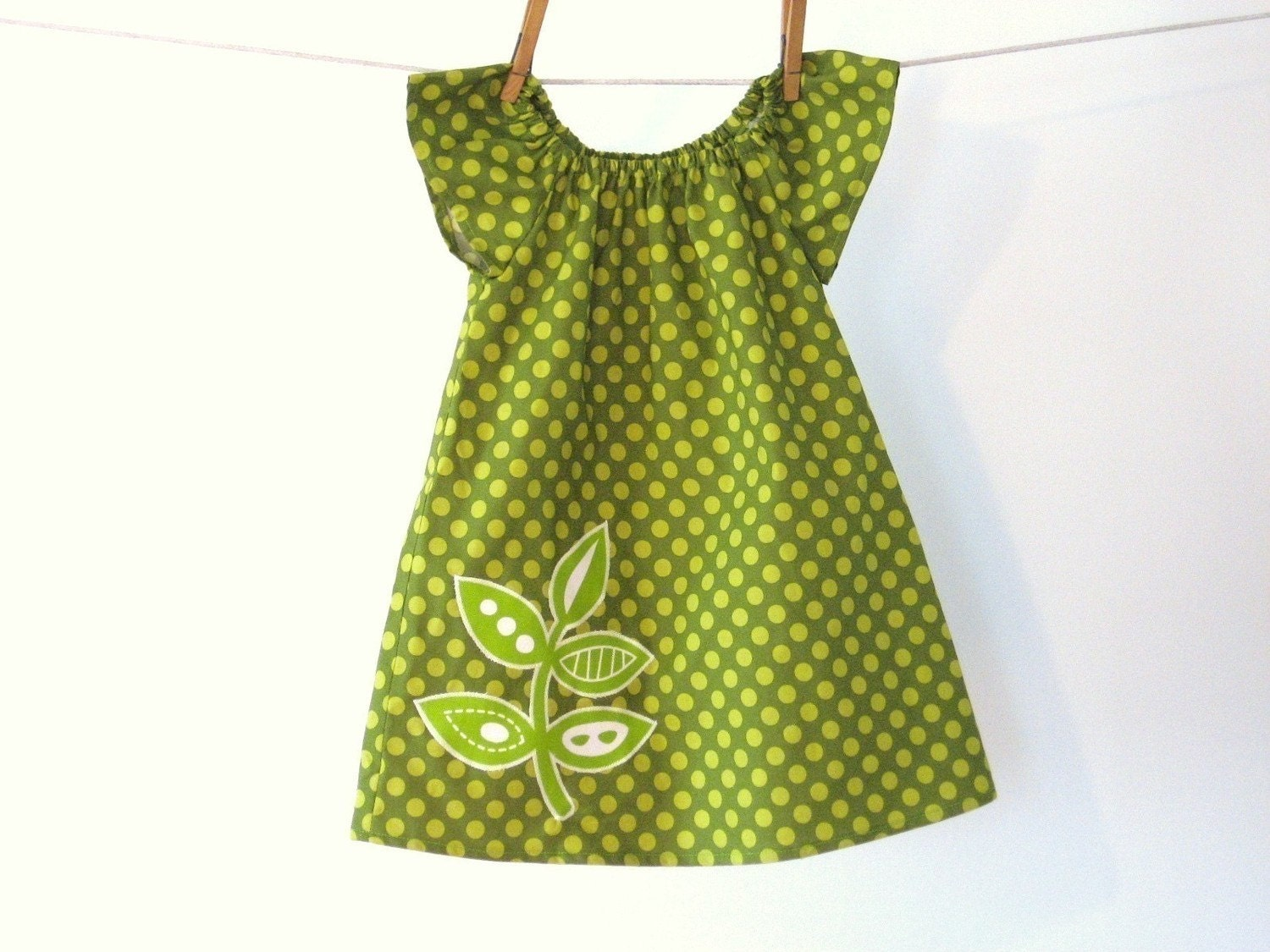 Mod  olive green and chartreuse polka dot dress with leaves applique