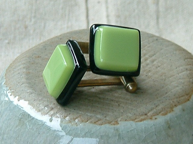 liquorice lime all sorts - fused glass cuff links