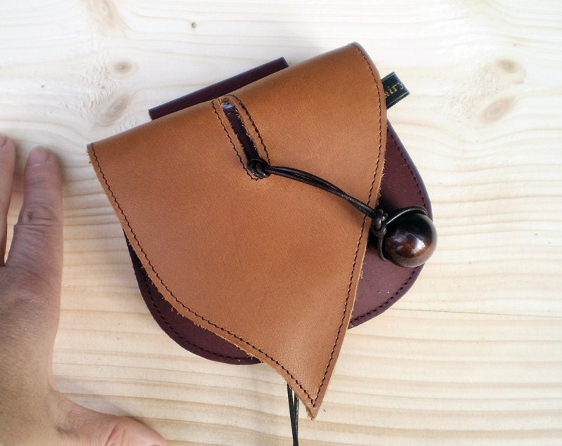 handmade leather pouch belt bag toffee and by fairysteps