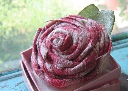 Fabric Flower Rose Flower Brooch in Watermelon