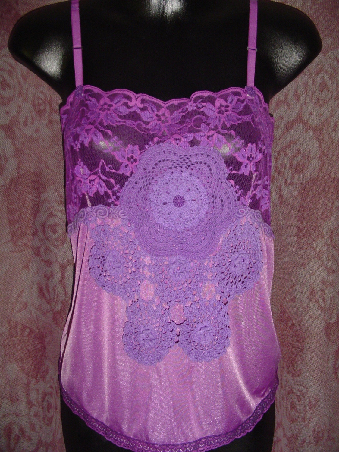 FREE SHIPPING - Purple Vintage Camisole Slip Top