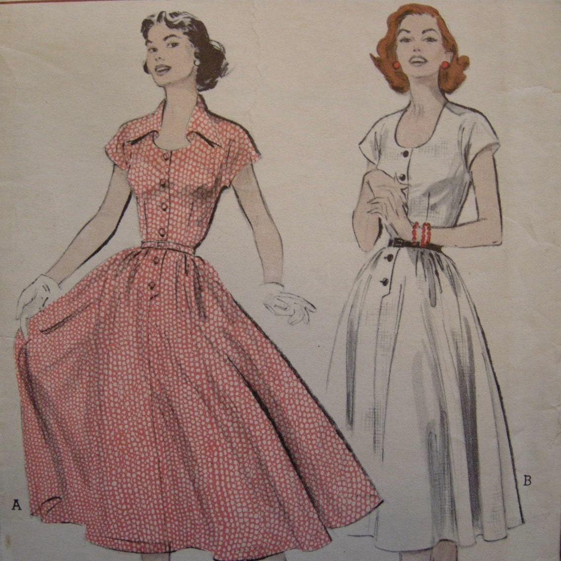 FULL SKIRT 50s Shirt Dress Pattern, Butterick 6109, Size 12, Bust 30.