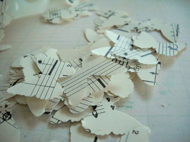 Charming Vintage Music Sheet Paper Punched Butterflies Set of 50