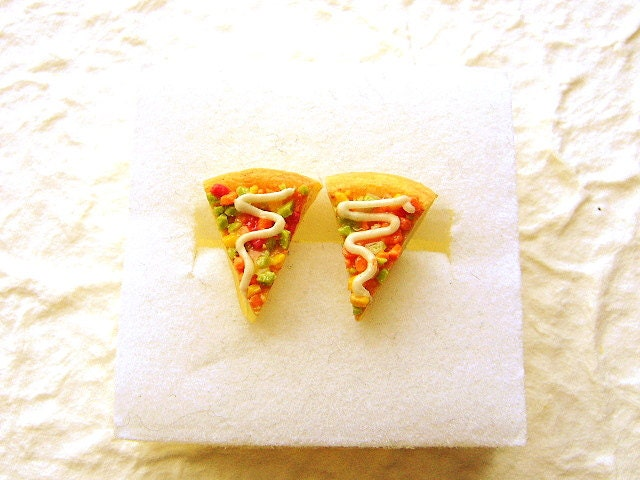 Slice of Pizza  Earrings by SouZouCreations on Etsy from etsy.com