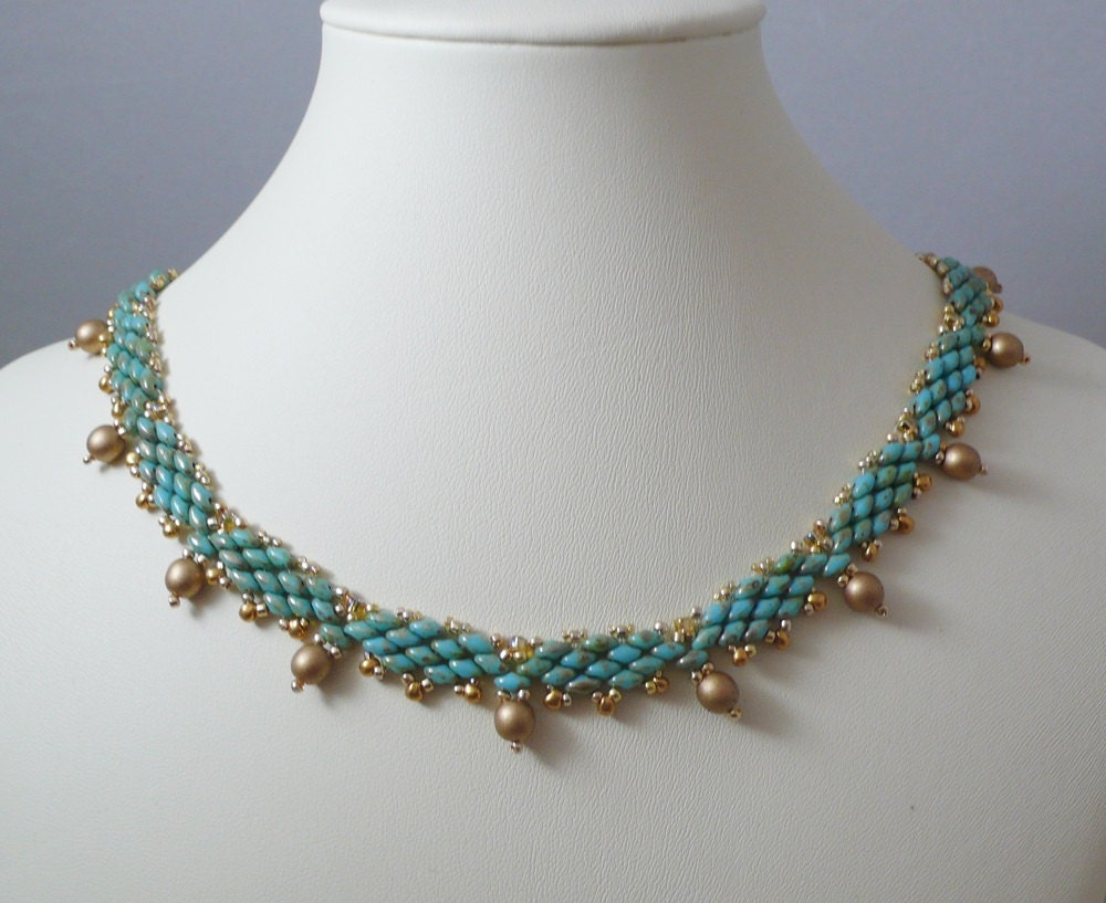 woven bead necklace turquoise and gold by indulgedgirl