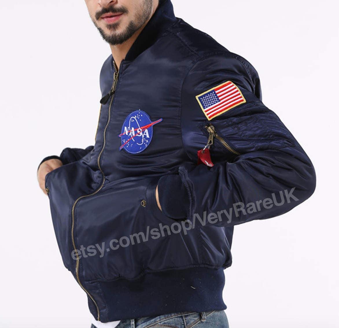 NASA MA1 Bomber Jacket Lightweight  Flight Jacket Alpha Inspired Air Force MA1 Pilot
