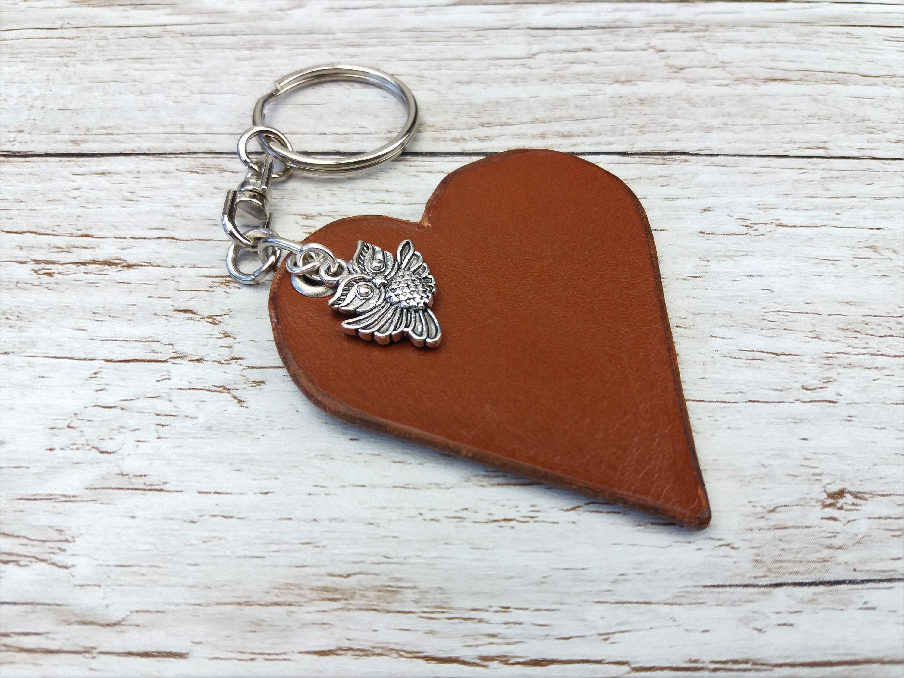 Leather Anniversary  3rd Anniversary Gift  3rd Wedding Anniversary  Leather Keyring  Leather Gift  Keychain Charms  Owl Charm