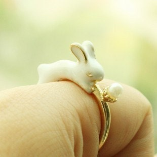 rabbit year super Cute little rabbit with his flower birthday gift golden ring(gift box package)