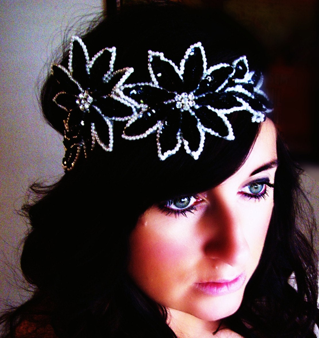 Stunning Black and White Couture Rhinestone Sequin Headband
