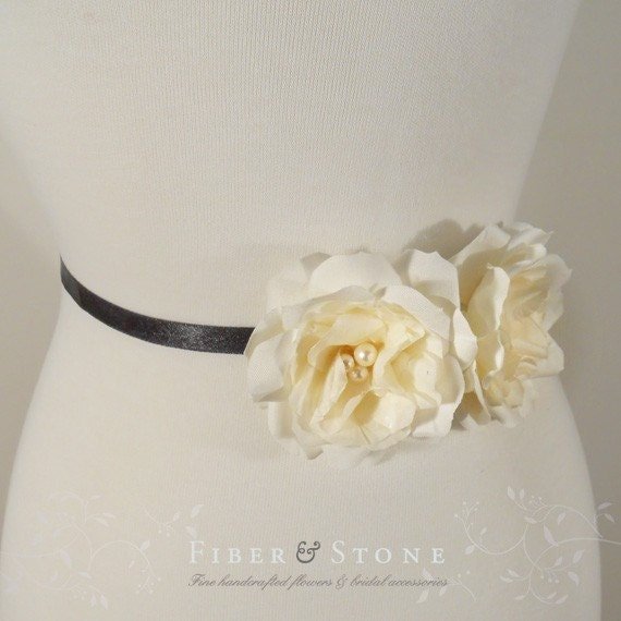 Ivory Camellia Silk Flower, Set of 2, Hair Clip, Fascinator, Sash Brooch Pin, Handmade with Pure silk Accented with Freshwater pearls