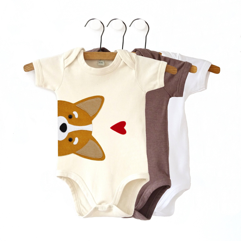 Corgi Organic Baby Bodysuit : Corgi Baby Gift , Organic Corgi Bodysuit, Corgi Baby Shower