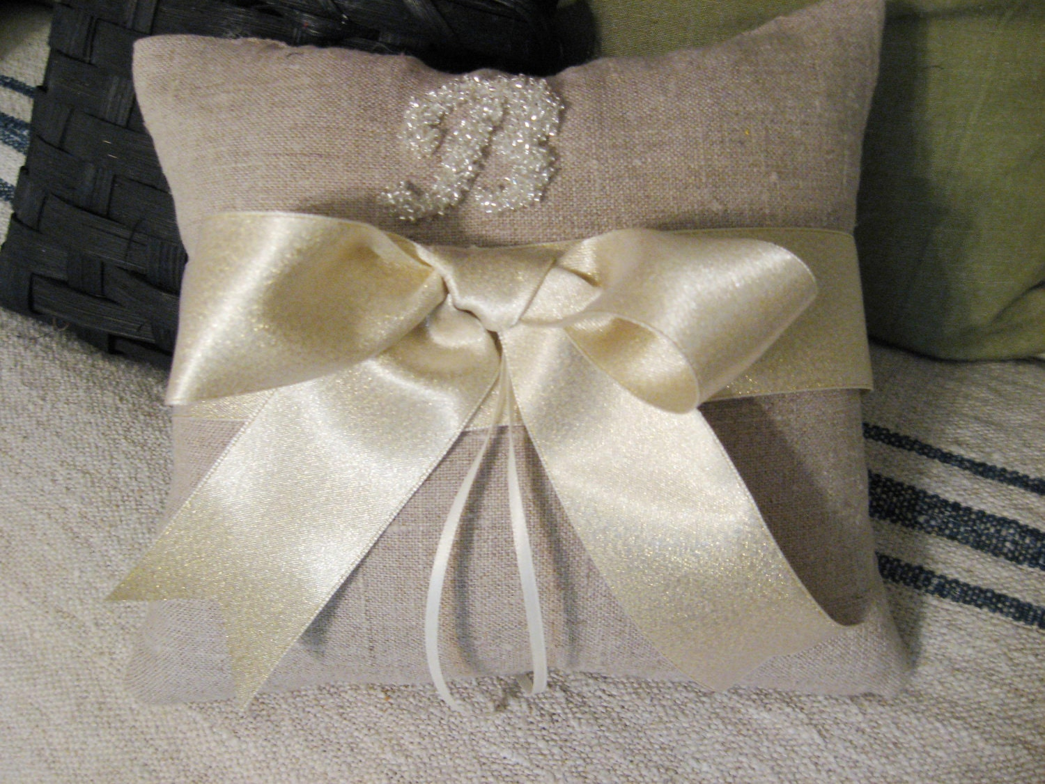 Ring Bearer Pillow Custom Bead Monogram Satin Ribbon choose colors
