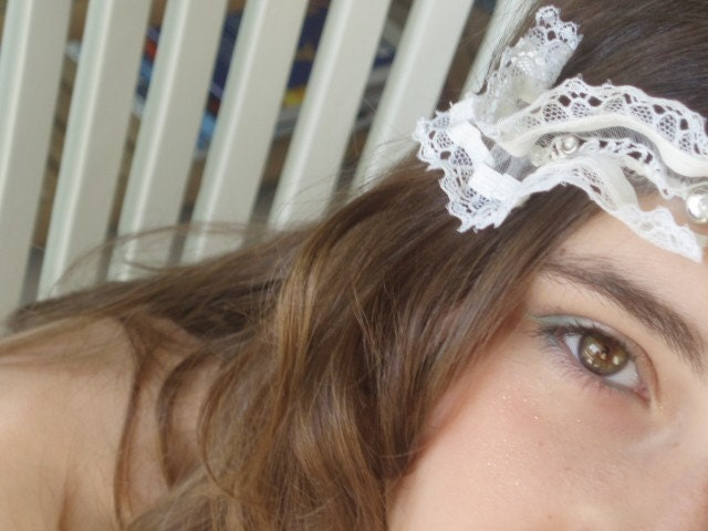 whits Lace headband diamonds-like stones SHALOM DOVE