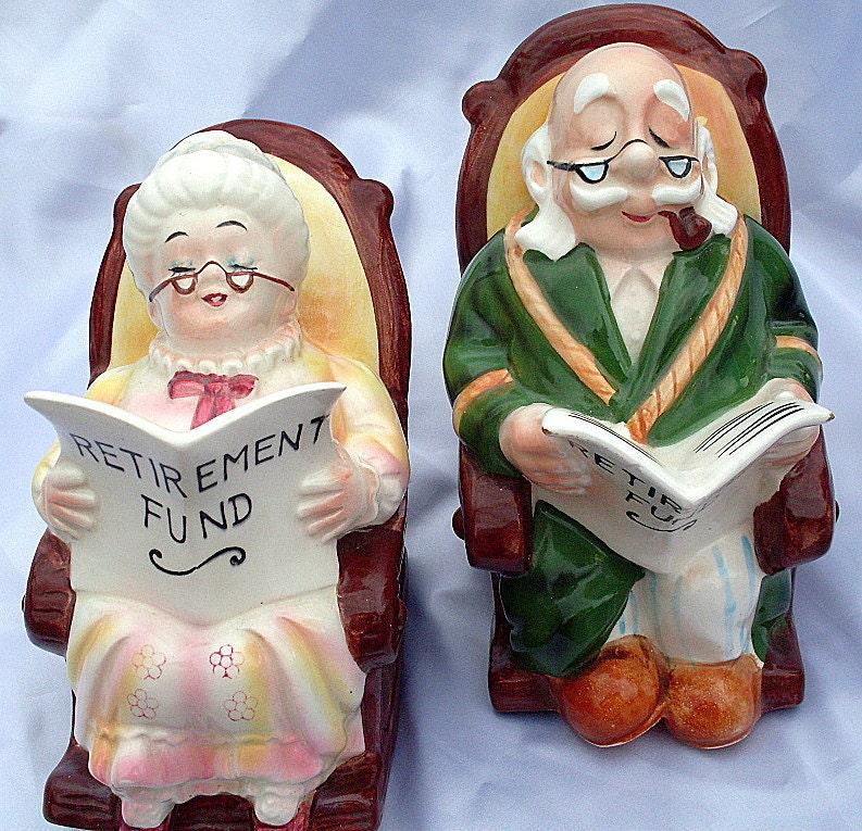 Vintage Grandpa Grandma Lefton Bank Ceramic Retirement By Ddb7