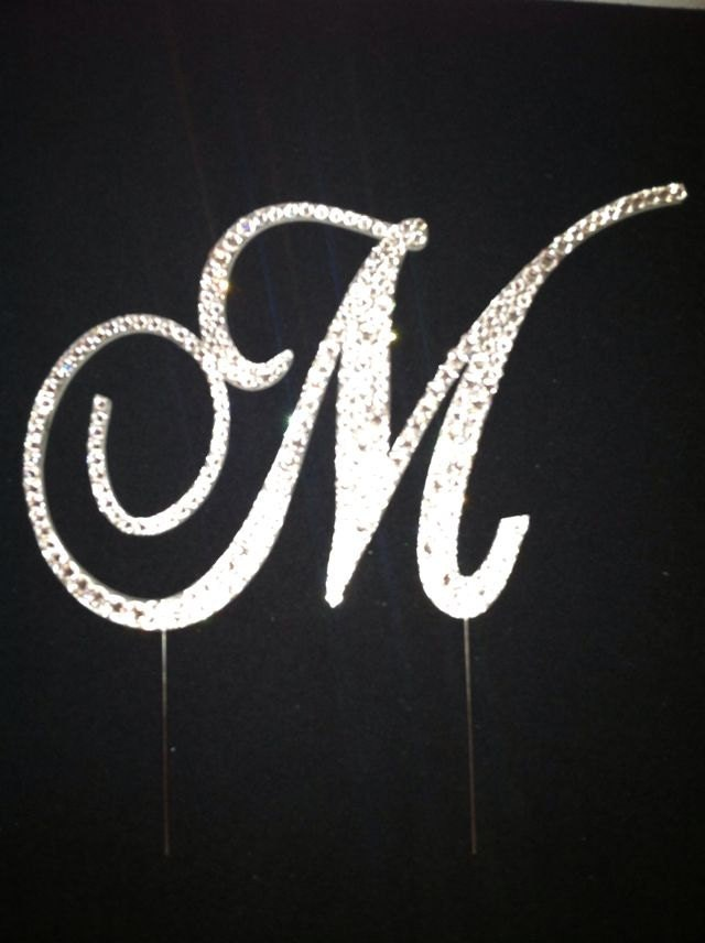 Request a custo... M Monogram Wedding Cake Toppers