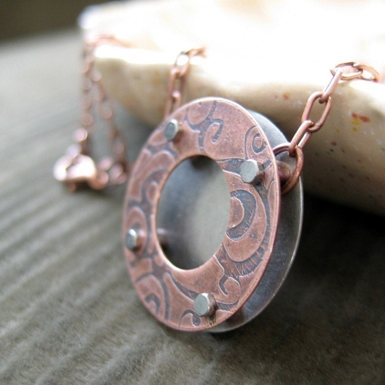 Cinnamon Streusel Bagel - etched copper necklace