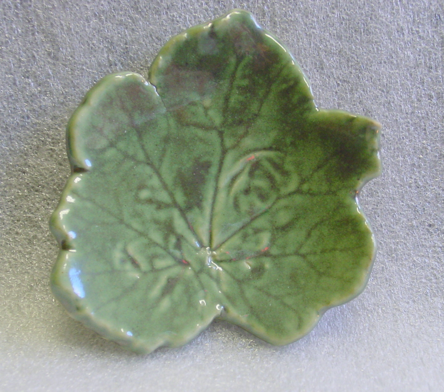 Green Handmade Pottery Leaf Trinket Tray, Spoon Rest, Candle or Tea Bag Holder