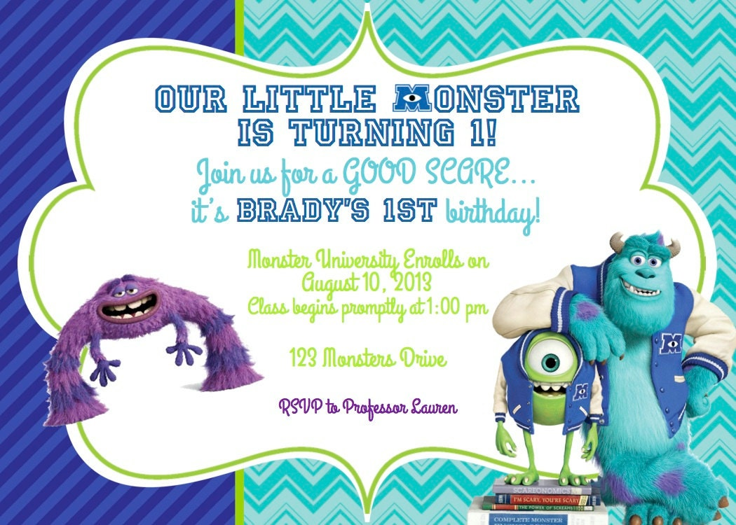 Monster Inc Invites for luxury invitation example