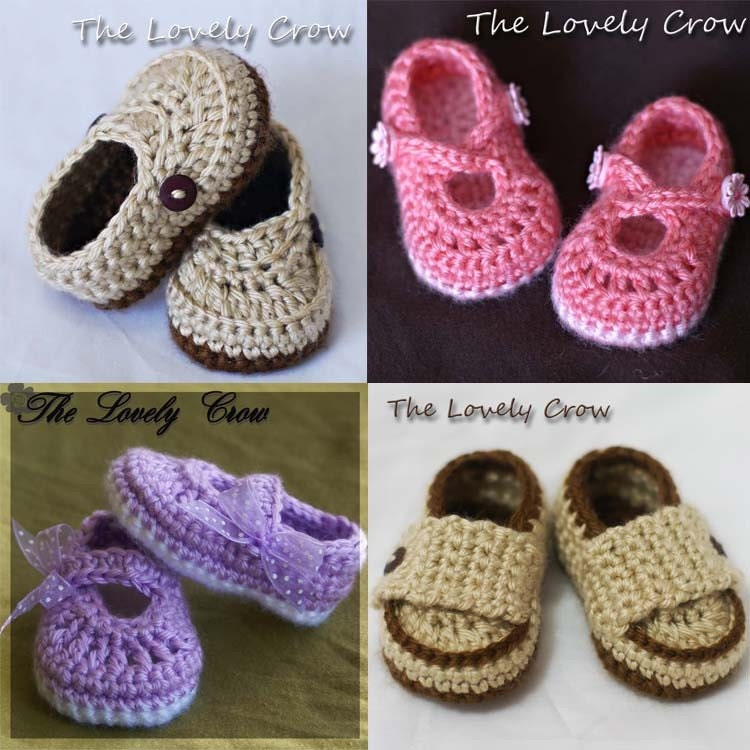 PDF Crochet Pattern Package.  All four booties.  Ribbon Maryjanes, Teaparty Maryjanes, Little Mister Loafers, Little Prince Loafers.
