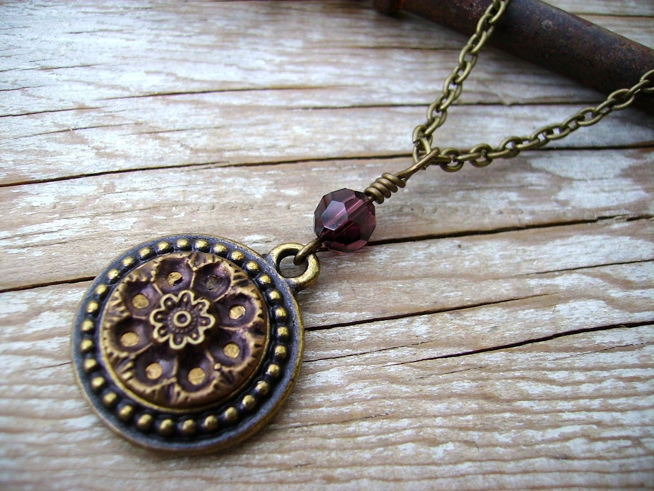 Antique Button Earring and Necklace Set Burgundy Mirror Blossom Gold Button Teardrop Earring Handmade by Compass Rose Design