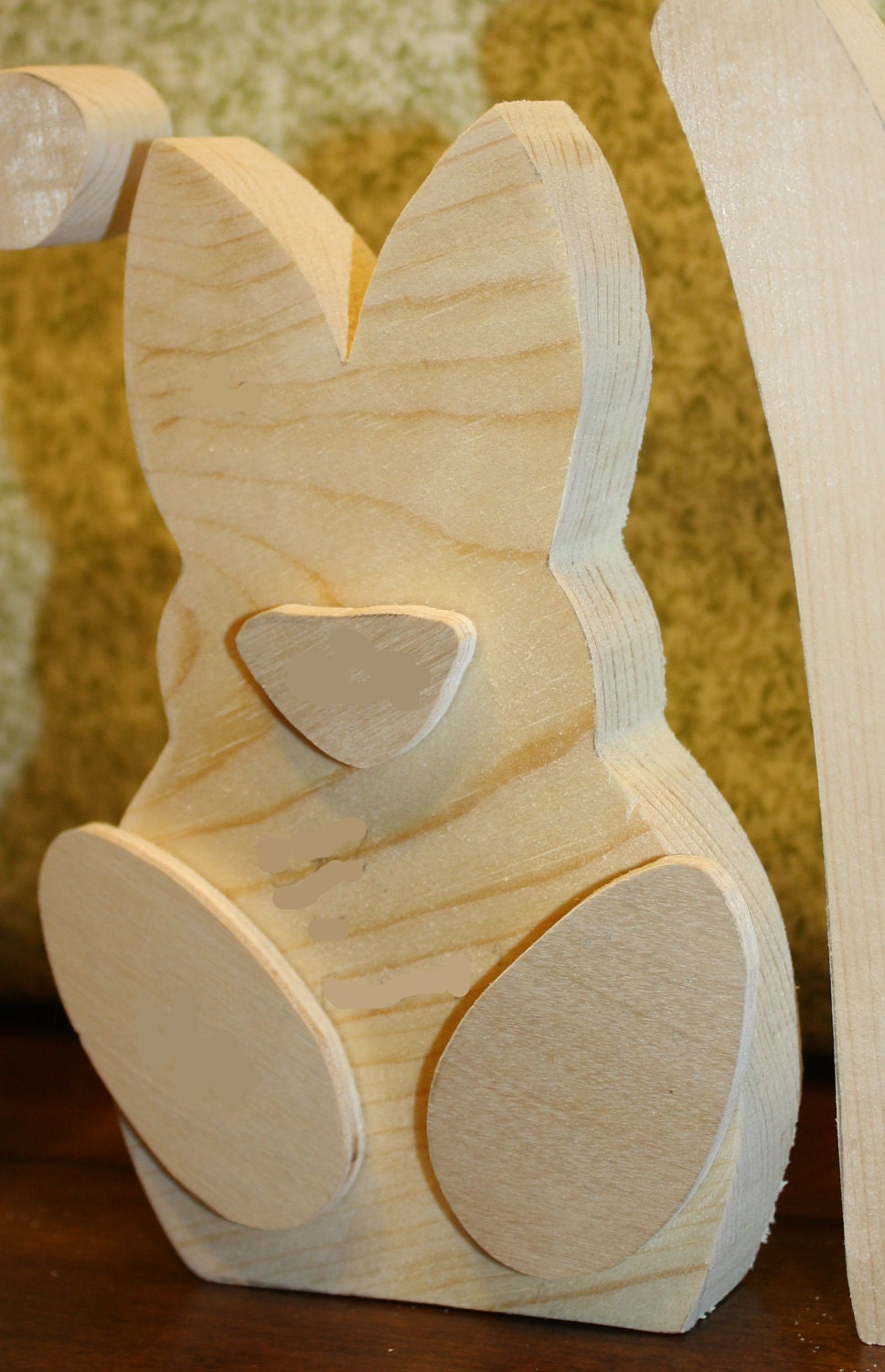 """UNFINISHED  Easter wood letters with chick as the """"A"""" and rabbit as the """"E""""."""
