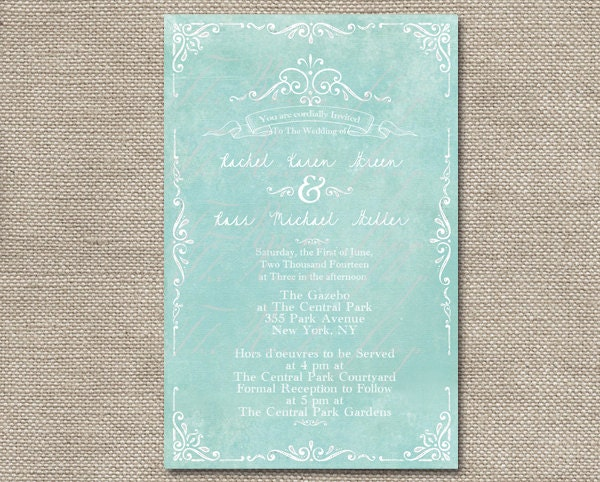Mint Green Wedding Invitations For Shabby Chic By Therocheshop