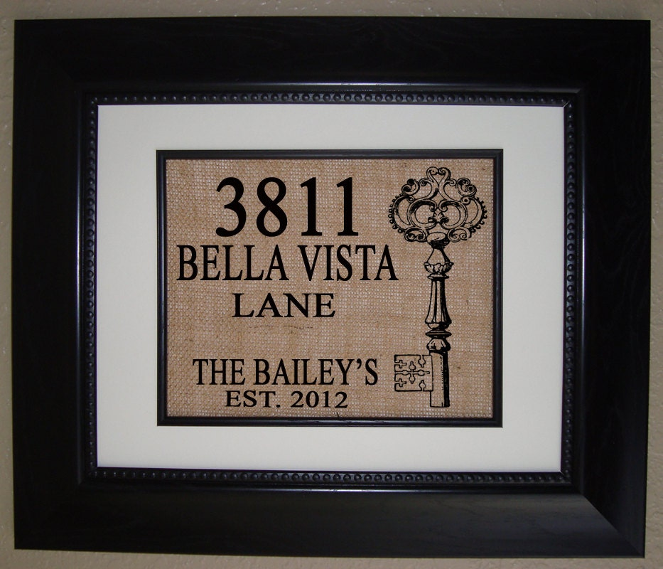 Personalized house warming gift burlap print makes by Unusual new home gifts