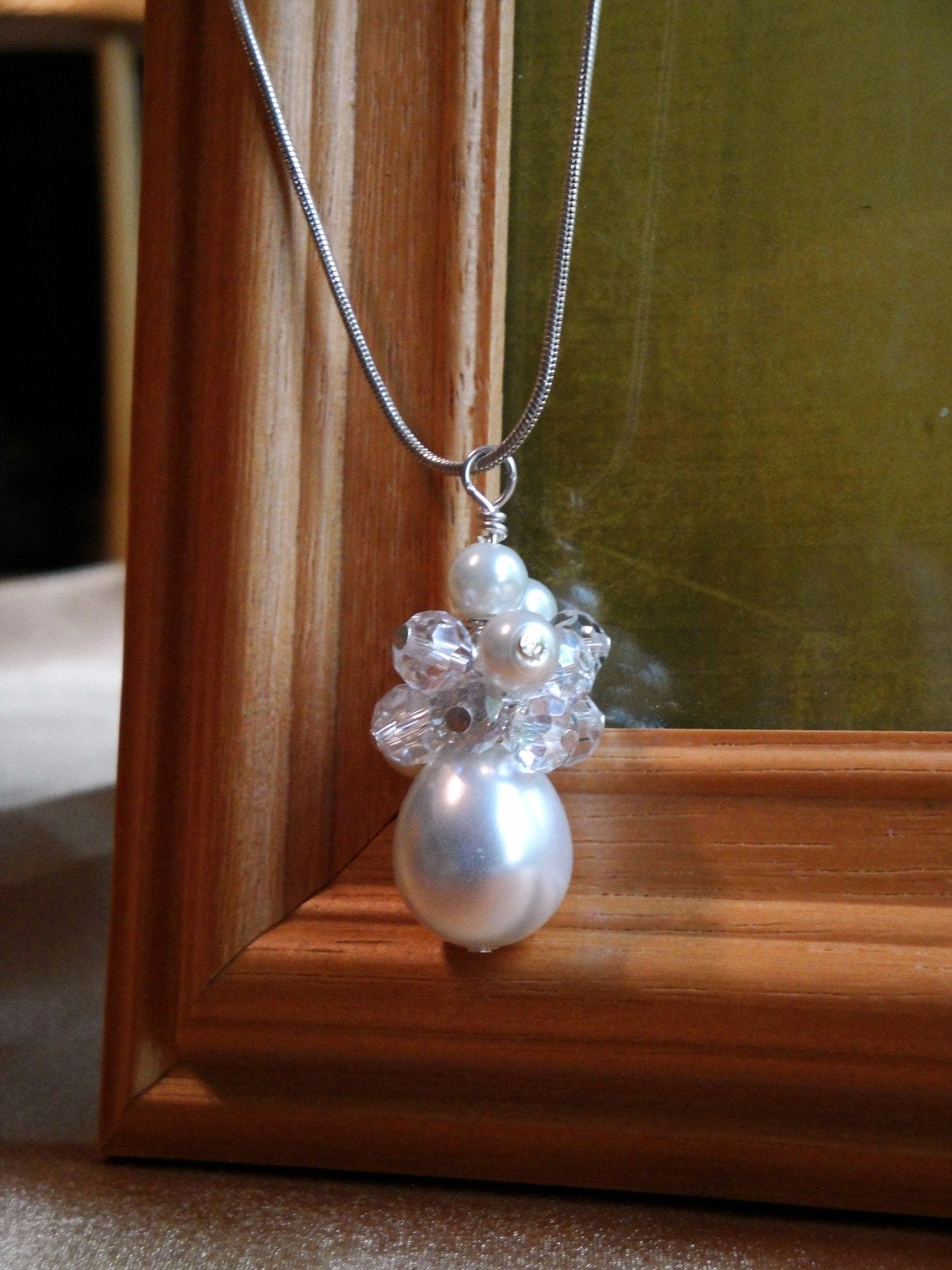 ON SALE White Cluster Pearl and Crystal Necklace for Your Special Day