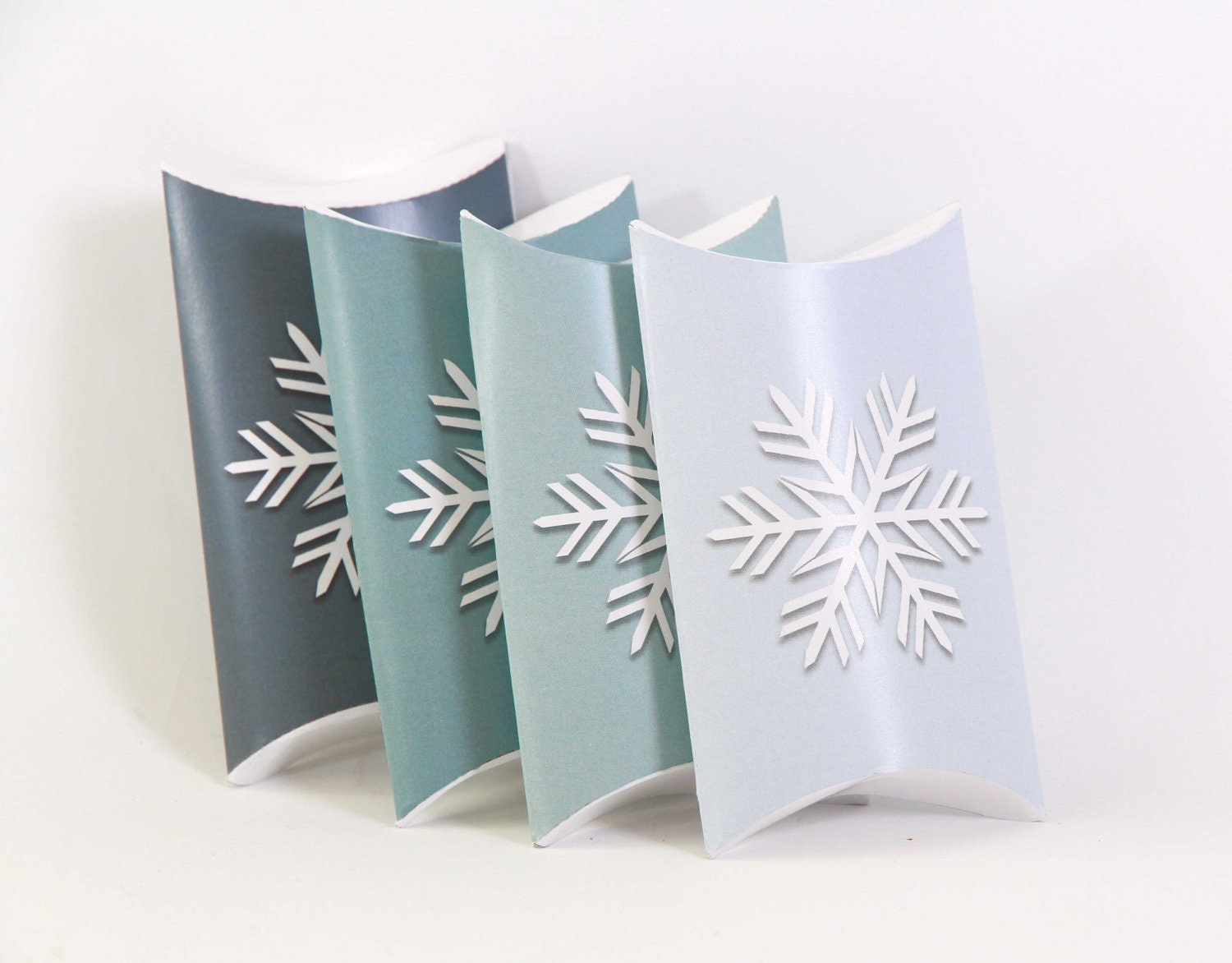 Printable Snowflake Pillow Favor Boxes - Custom Color  - Ombre - Printable DIY Chirstmas Decor - EmilyHingston