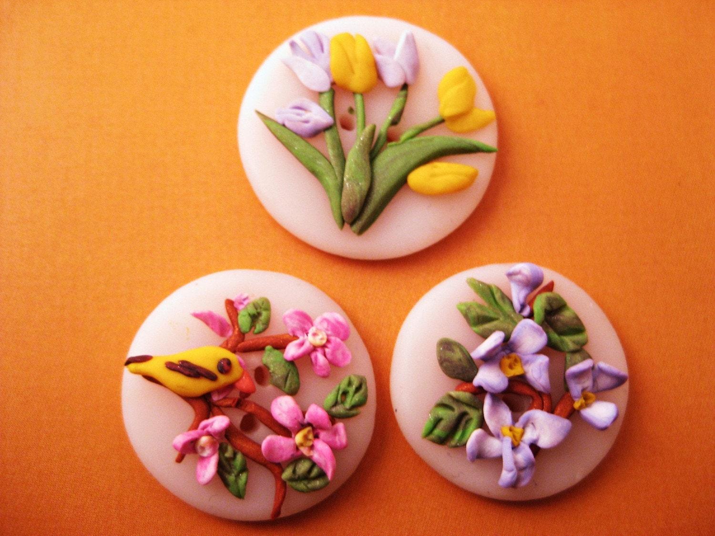 Button Bouquet Scrapbook Embellishment Flowers