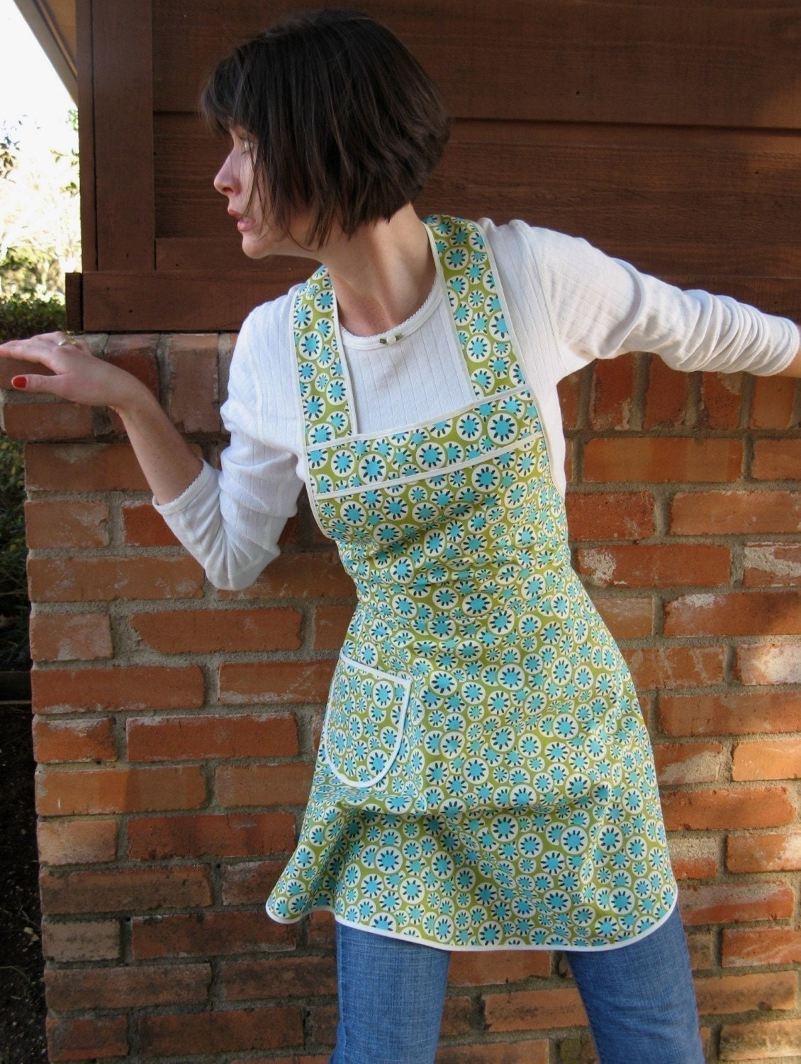Turquoise Retro Amy Butler Apron - Flirty Everyday Housewife Apron