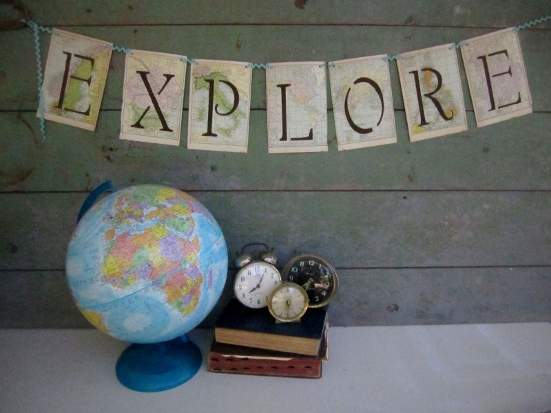 Vintage Map Banner - EXPLORE - Travel Theme - OOAK