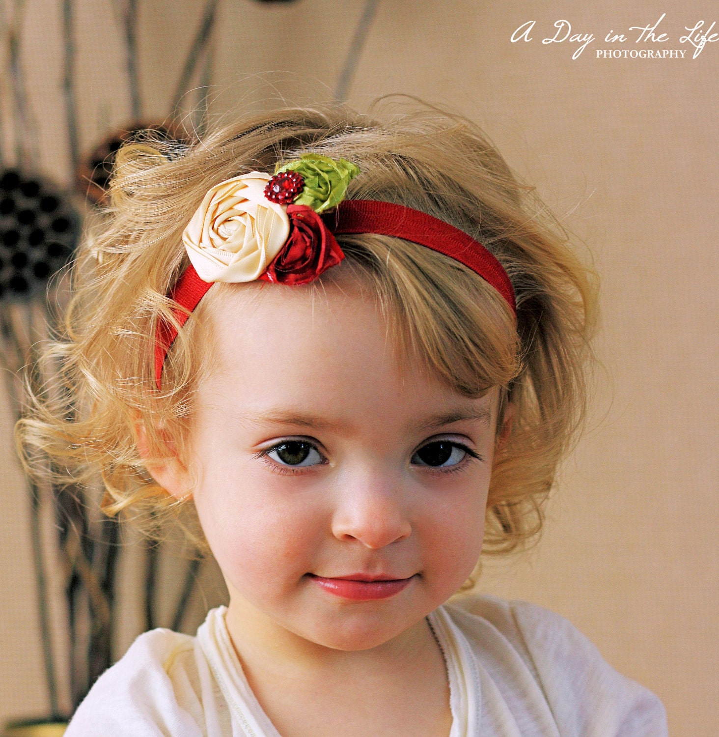 NEW - Interchangeable Satin Rosette Hair Clip & Headband - Maroon and Cream