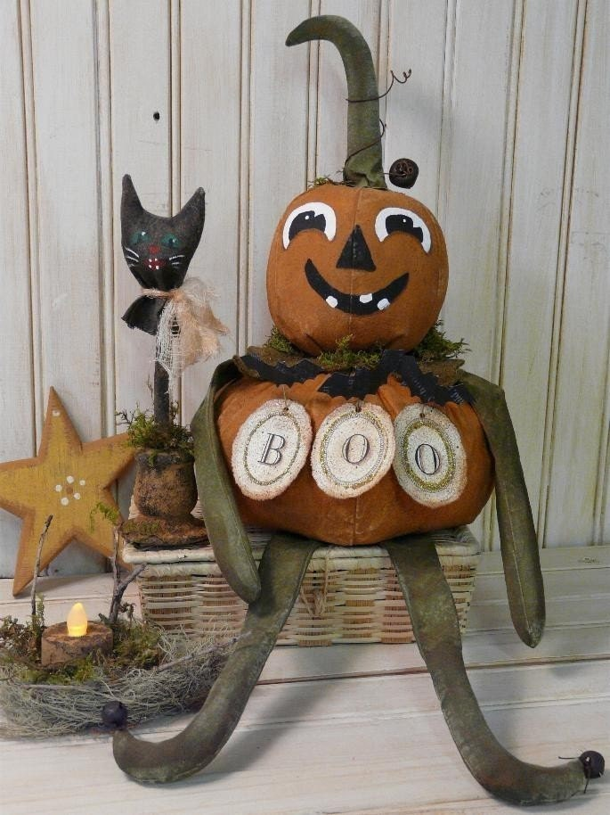 New Boo Pumpkin Man and Cat E Pattern - halloween vintage like black bats doll JOL grubby tea light primitive