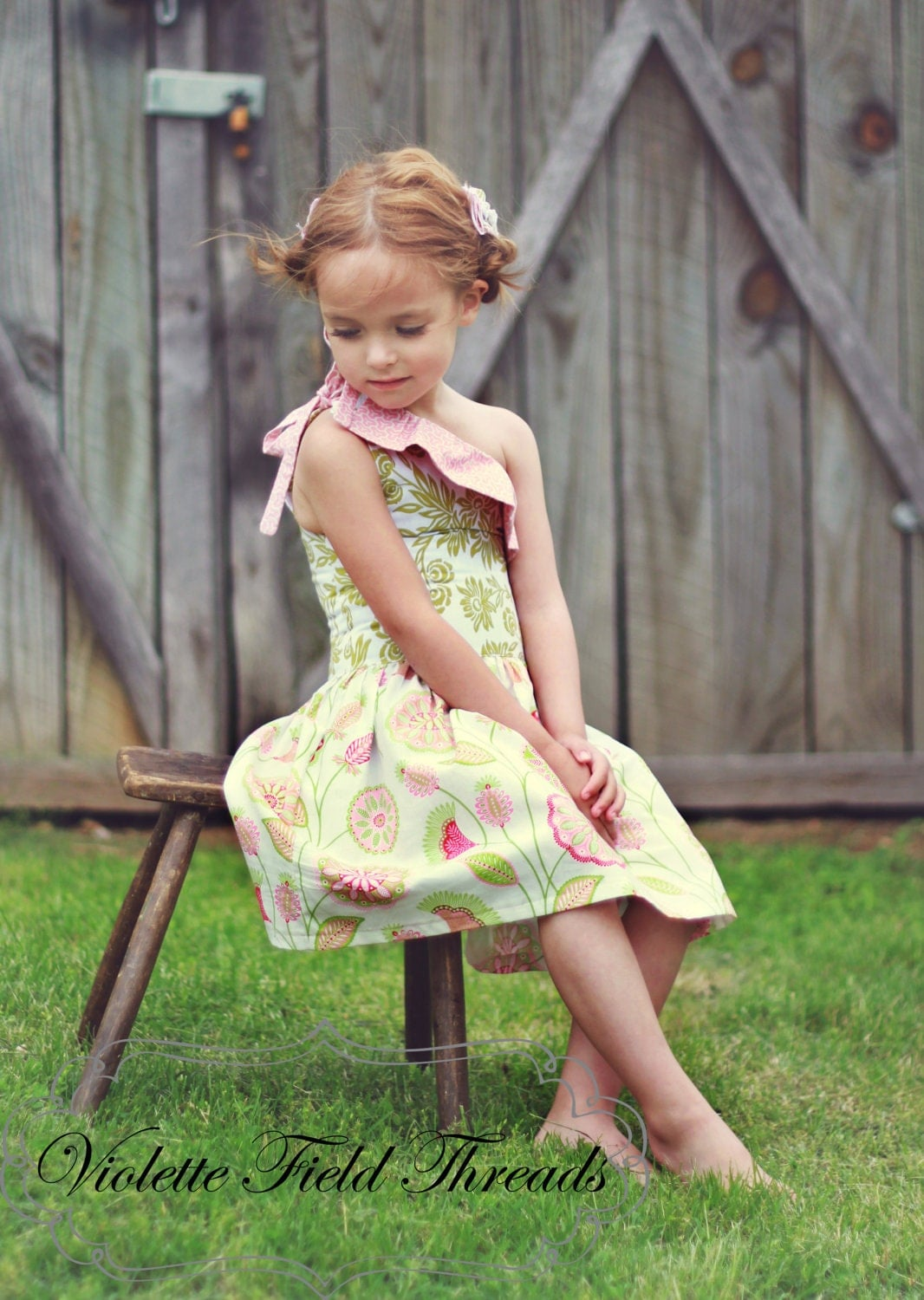 Stella one-shoulder dress PDF pattern tutorial 2t, 3t, 4t, 5, 6, 7