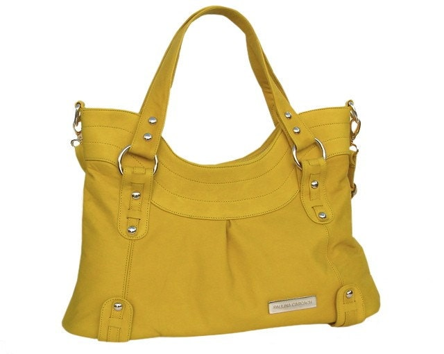 MUSTARD YELLOW COWHIDE LEATHER SHOULDER BAG - VICTORIA
