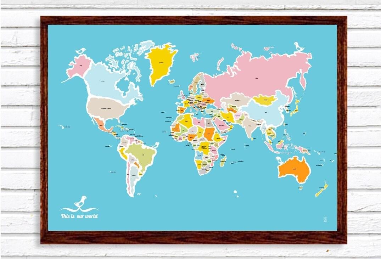 Map and Birds Big Print