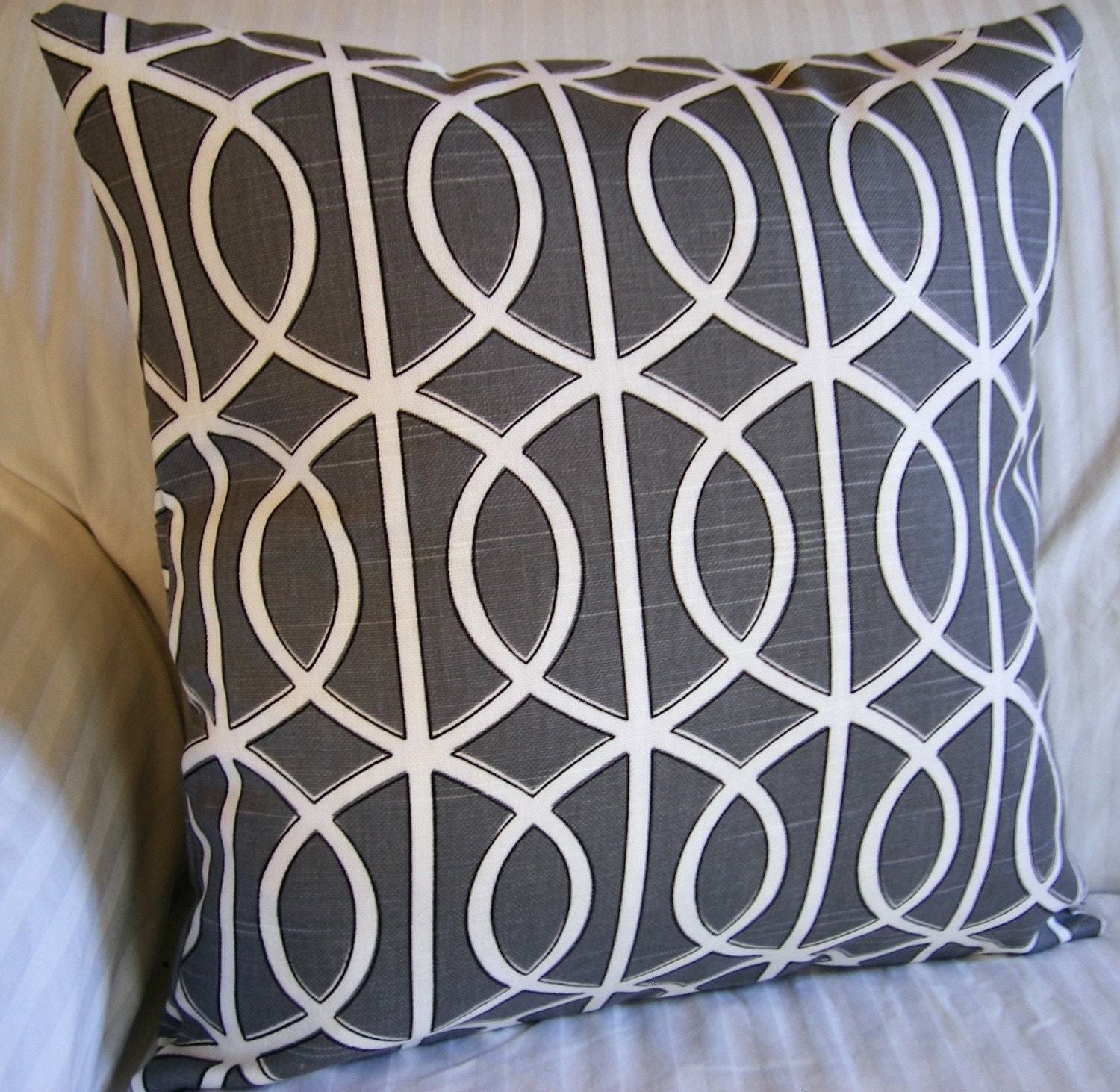 Pillow, Throw pillow cover, cushion cover, outdoor pillow 16x16 handmade with Designer Fabric Charcoal Gray