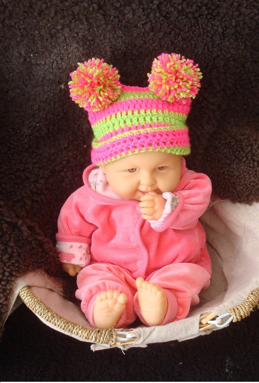 Funny bright square hat with 2 pompoms. 0 - 12 month. Great for a gift or for a photo prop. Item 056 Tutti frutti