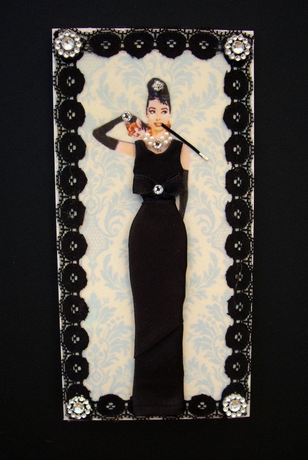 Breakfast at Tiffanys Dress Card / Audrey Hepburn / Handmade Greeting Card