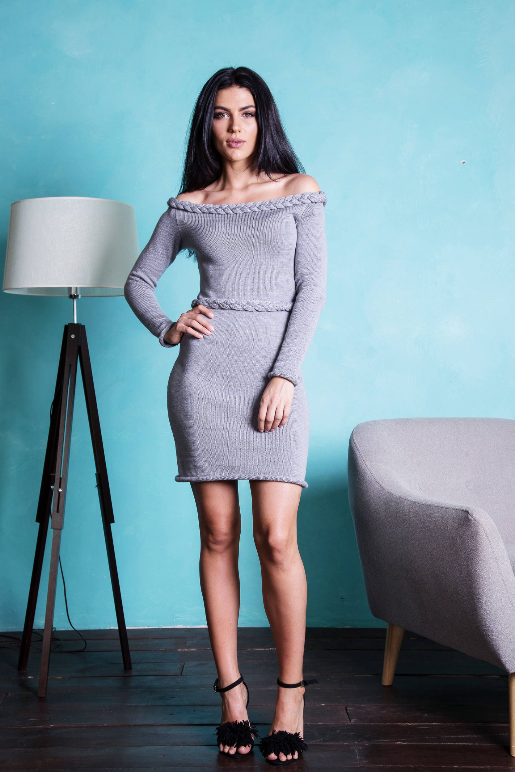 Off shoulder bodycone knitted dress belted dress Grey
