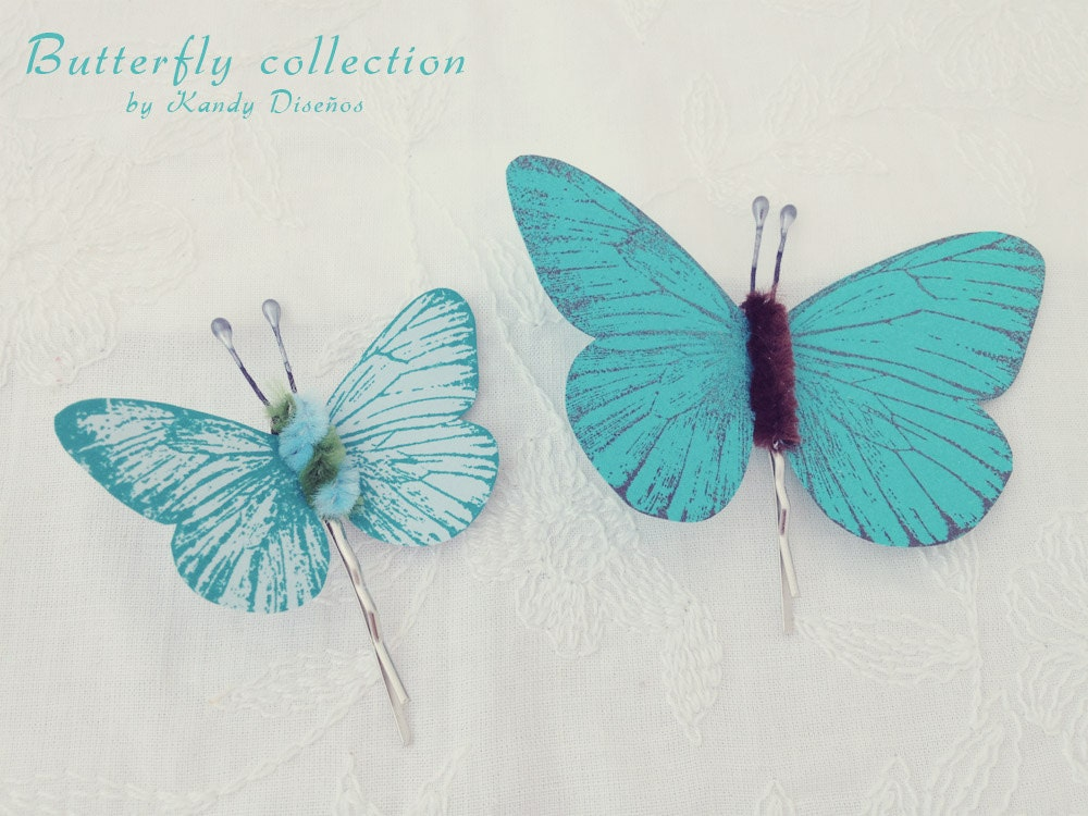 Butterflies hair pin set, Butterflies hair clip Bridal Bridesmaid hair. Butterfly hair accesory, Teal Blue chocolate pin, Butterfly Wedding - KandyDisenos