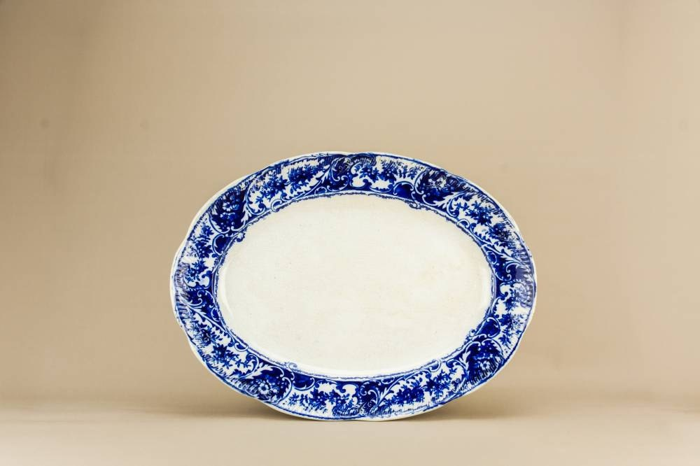 Spectacular Antique Pottery Floral Service Table Serving PLATTER Art Nouveau Blue And White English Late 19th Century LS