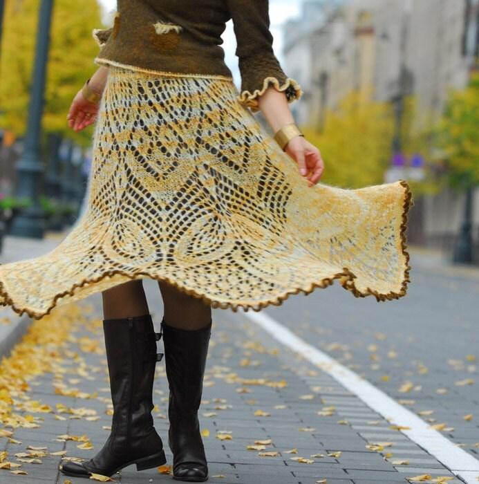 Hand knitted mohair skirt Sunnny