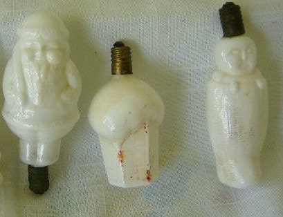 Vintage Christmas Light Bulb Ornaments THREE IN ALL Milk Glass