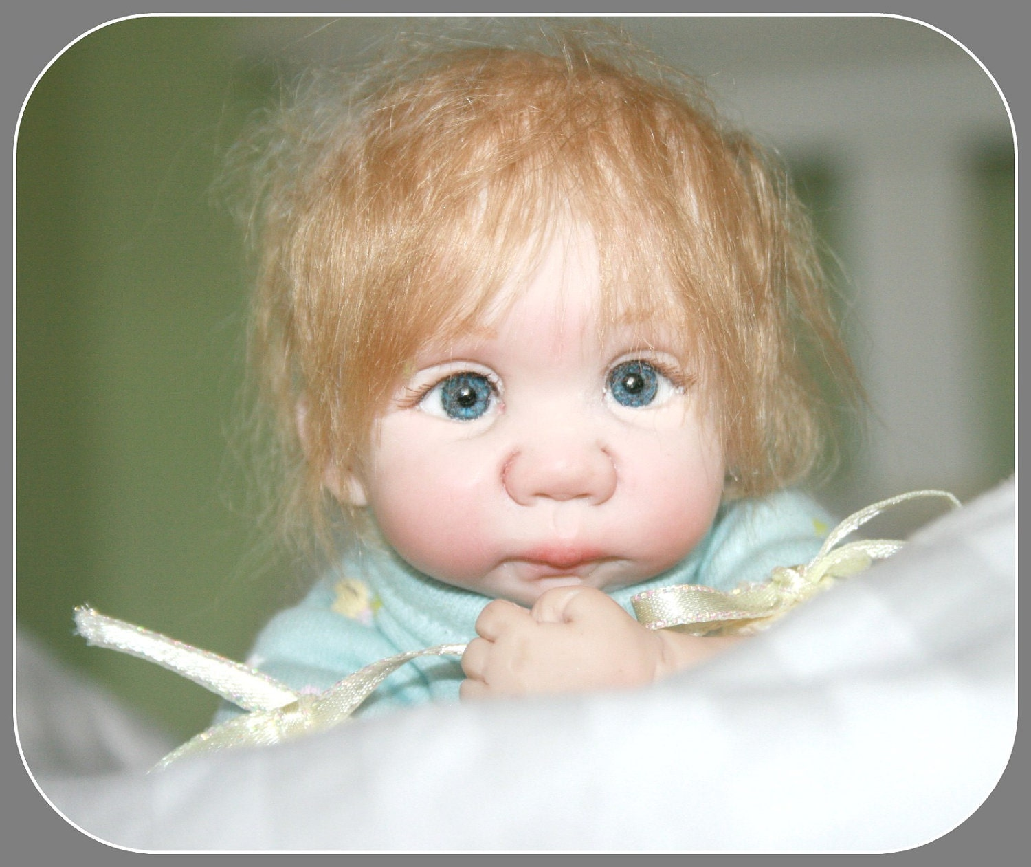 "OOAK 8"" Mini hand sculpted clay baby doll Art doll"