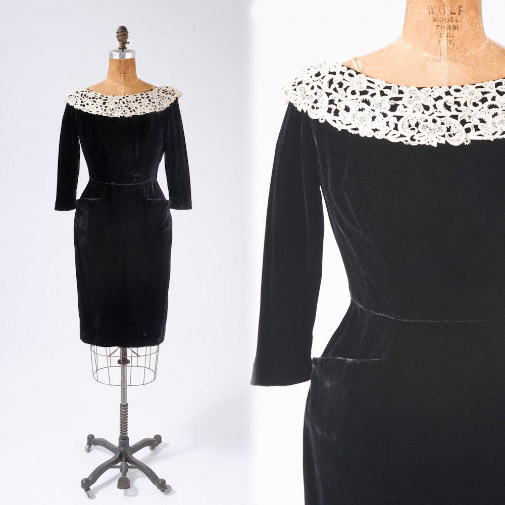 vintage black velvet dress with lace collar and pockets