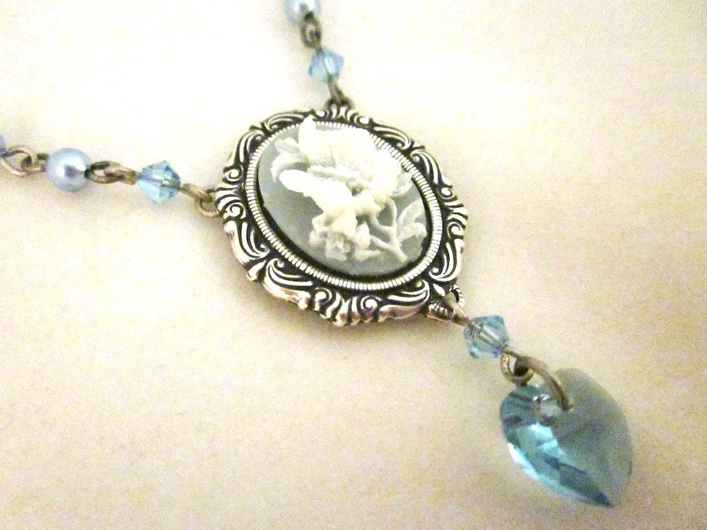 Victoriana Blue Cameo Necklace - Resin cameo in antique silver coloured setting with swarovski pearls and crystals