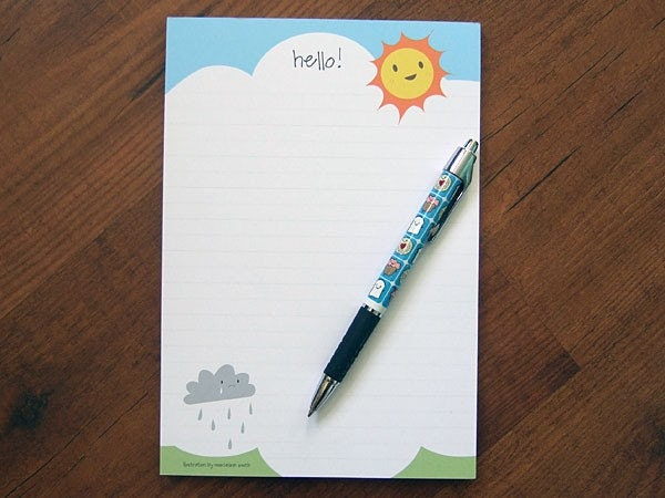 Kawaii Writing Pad Sun and Rain by askingfortrouble on Etsy